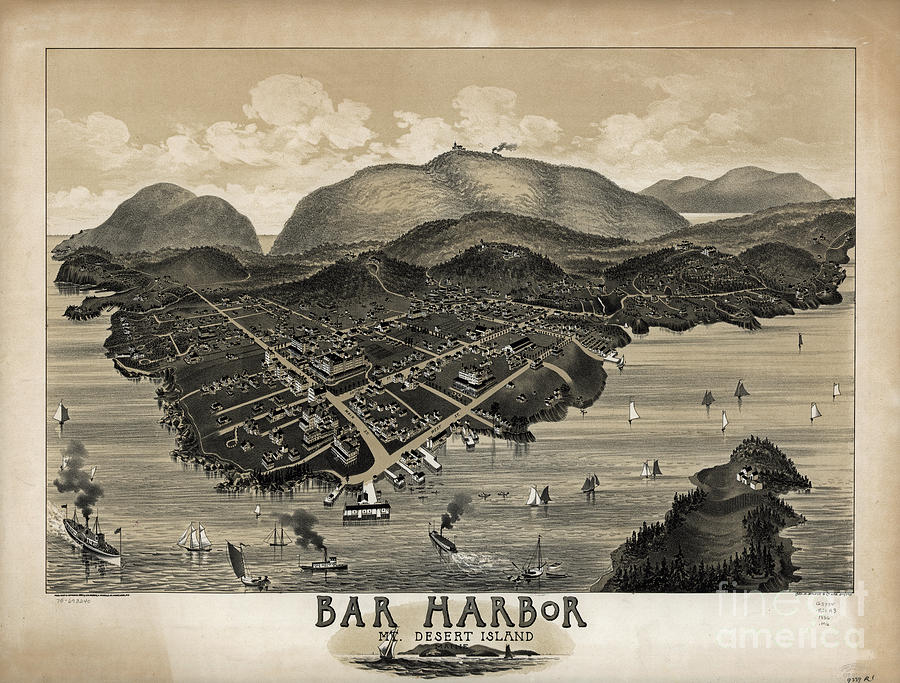 Vintage Bar Harbor Map Photograph