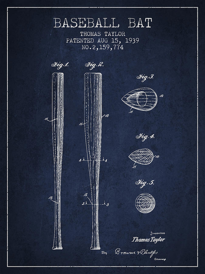 Vintage Baseball Bat Patent From 1939 Drawing