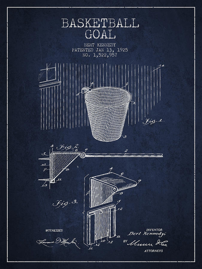 Vintage Basketball Goal Patent From 1925 Drawing