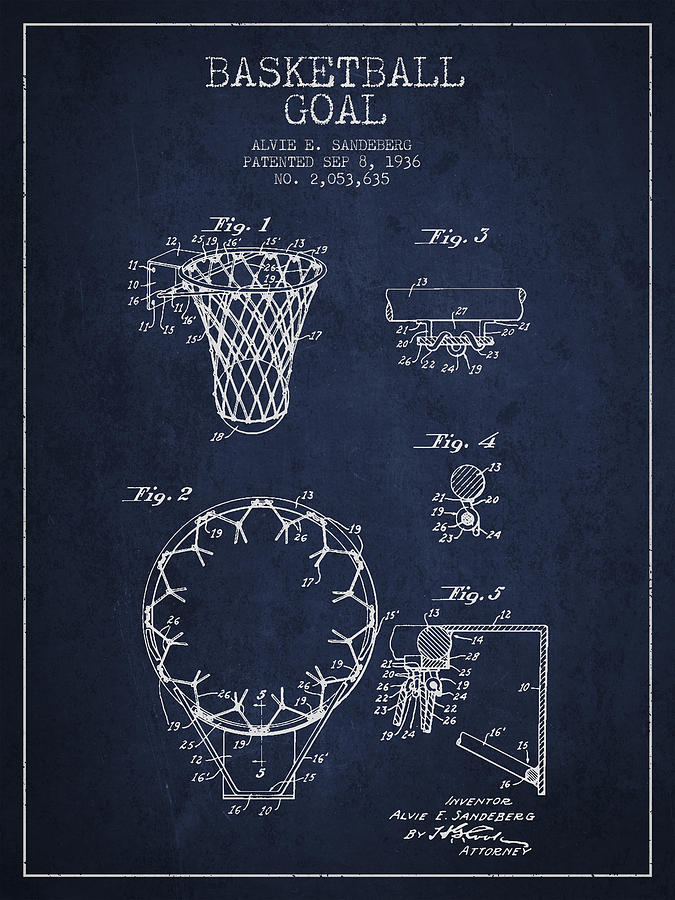 Hoop Patent Drawing - Vintage Basketball Goal Patent From 1936 by Aged Pixel
