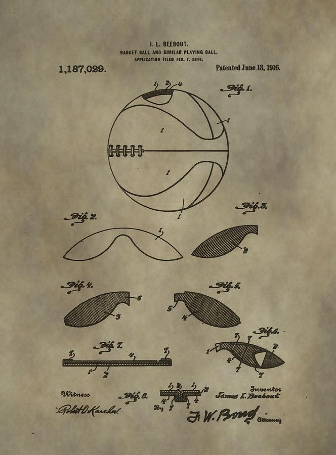 Vintage Basketball Patent Digital Art - Vintage Basketball Patent by Dan Sproul