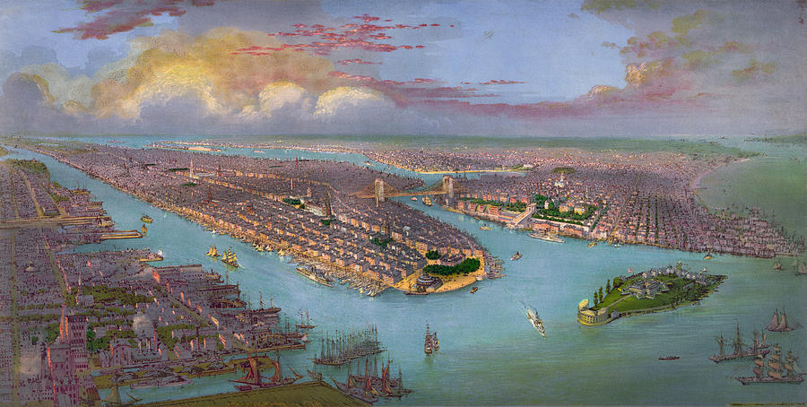 New York City Drawing - Vintage Birds Eye View Of New York City - Circa 1885 by Blue Monocle