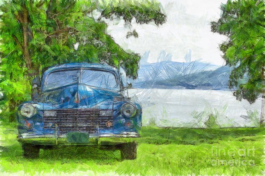 Vintage Blue Caddy At Lake George New York Photograph