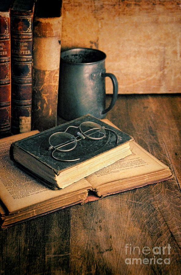 Vintage Books And Eyeglasses Photograph