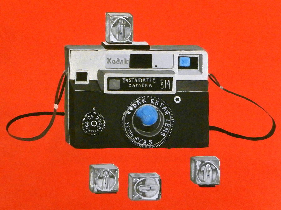 Vintage Camera With Flash Cube Painting