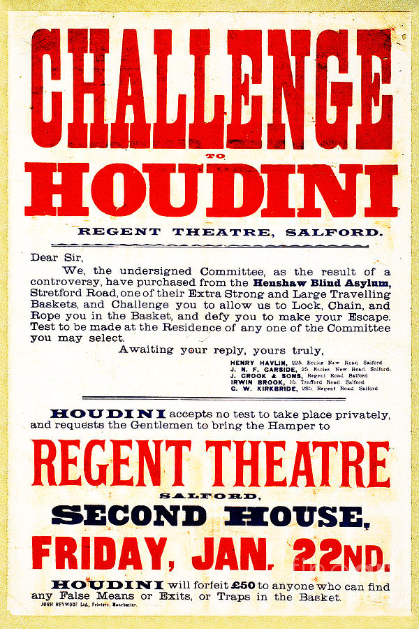 Houdini Photograph - Vintage Challenge Houdini Poster by Wingsdomain Art and Photography