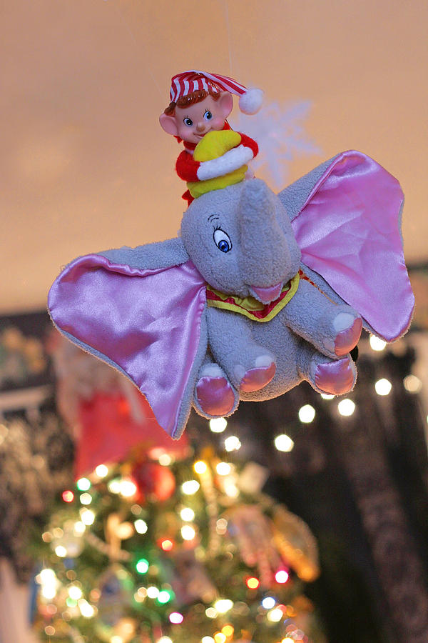 Vintage Christmas Elf Flying With Dumbo Photograph  - Vintage Christmas Elf Flying With Dumbo Fine Art Print