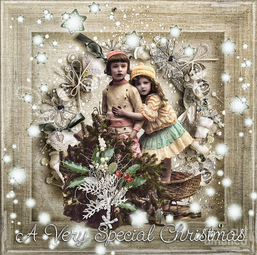 Vintage Christmas Mixed Media  - Vintage Christmas Fine Art Print