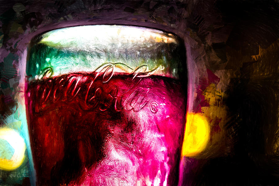 Vintage Coca Cola Glass With Ice Painting