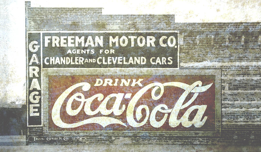 Vintage Cola Sign Mural Photograph  - Vintage Cola Sign Mural Fine Art Print
