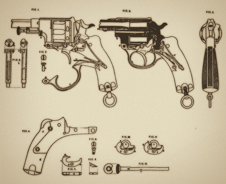 Vintage Colt Revolver Drawing Mixed Media  - Vintage Colt Revolver Drawing Fine Art Print