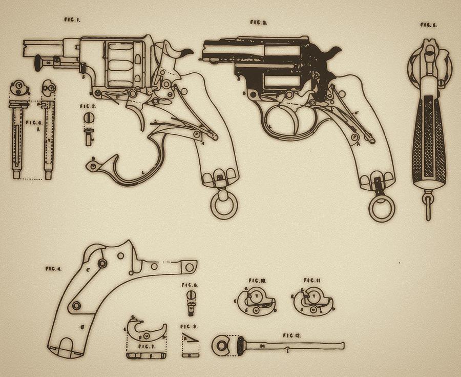 Ammunition Mixed Media - Vintage Colt Revolver Drawing by Nenad Cerovic