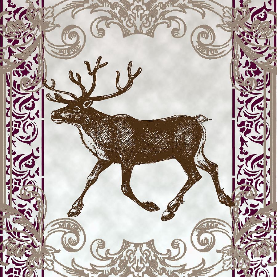 Vintage Deer Artowrk Mixed Media