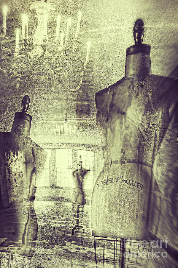 Atmosphere Photograph - Vintage Dressforms With Abstract Grunge Background by Sandra Cunningham