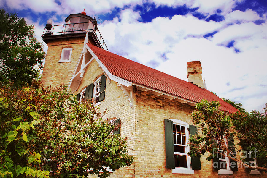 Vintage Eagle Bluff Lighthouse Photograph