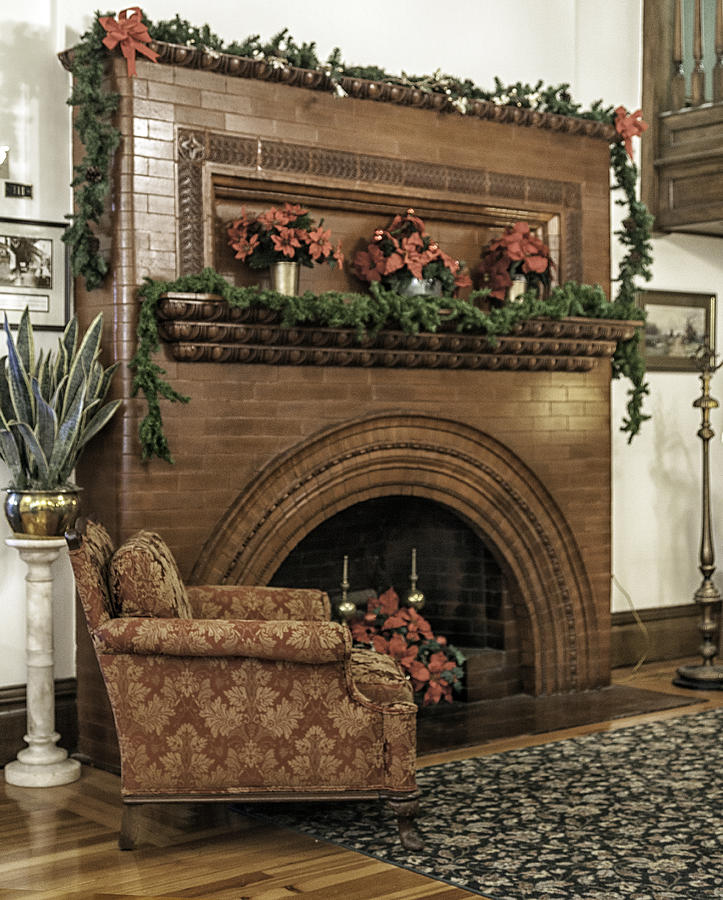 Vintage Fireplace Decorated For Christmas Photograph