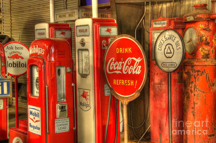 Vintage Gasoline Pumps With Coca Cola Sign Photograph