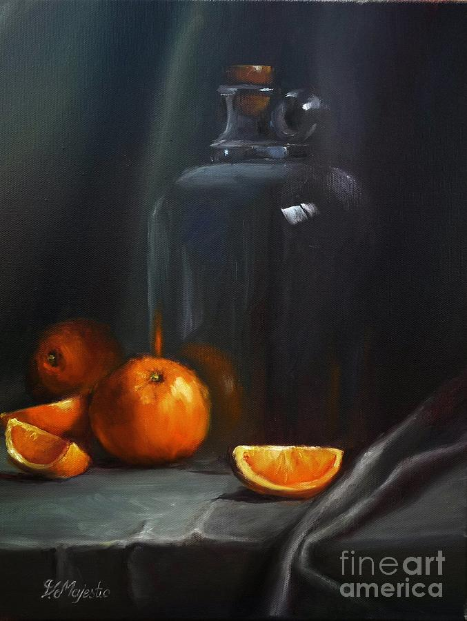 Vintage Glass Jug And  Oranges Painting  - Vintage Glass Jug And  Oranges Fine Art Print