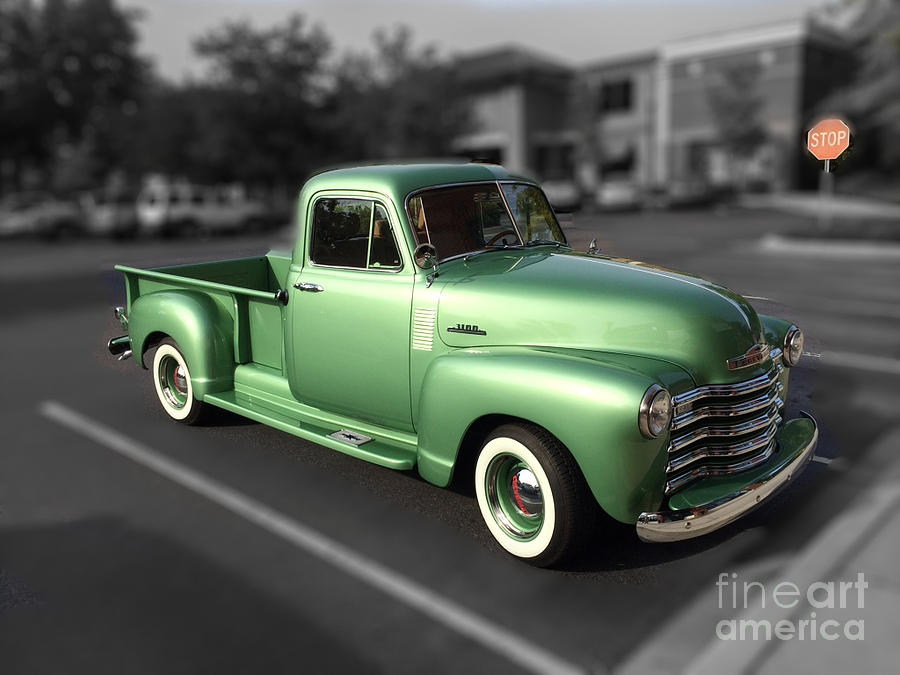 Vintage Green Chevy 3100 Truck Photograph