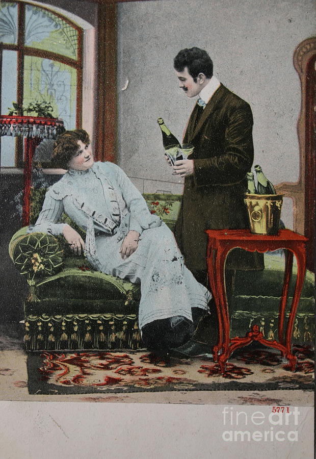 Adorable Photograph - Vintage Handtinted Postcard Of 1904 Of Two Lovers by Patricia Hofmeester