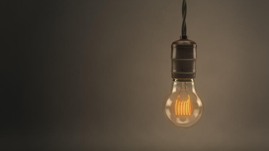 Vintage Hanging Light Bulb Digital Art
