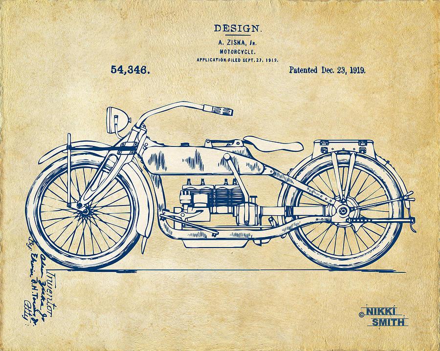 Vintage Harley-davidson Motorcycle 1919 Patent Artwork Drawing