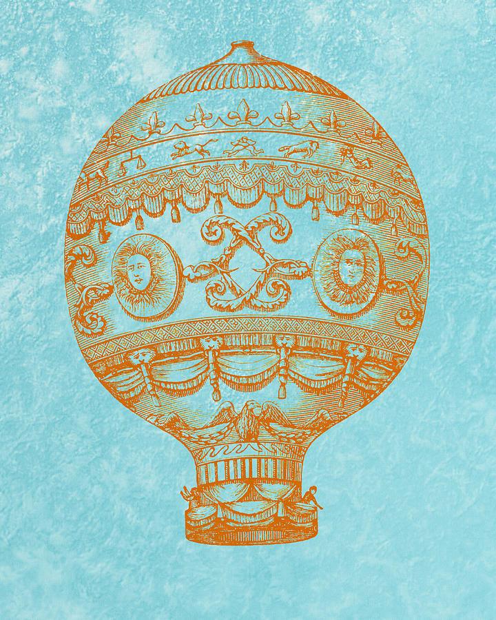 Vintage digital art vintage hot air balloon by world art prints and