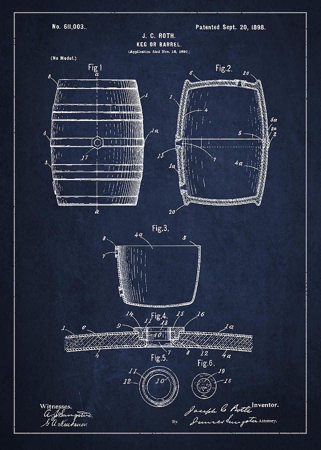Vintage Keg Or Barrel Patent Drawing From 1898 Drawing