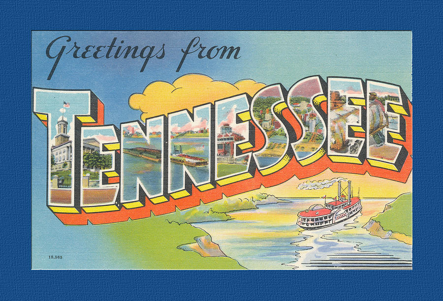 Vintage  Large Letter Greetings From Tennessee Digital Art  - Vintage  Large Letter Greetings From Tennessee Fine Art Print