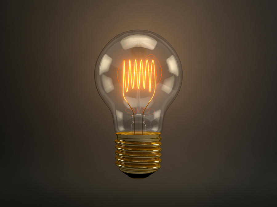 Vintage Light Bulb Digital Art