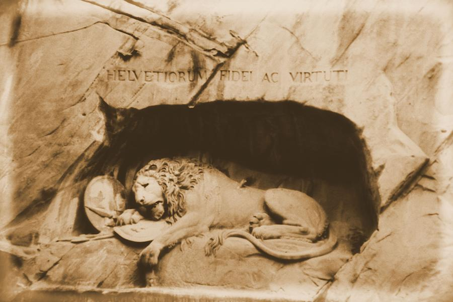 Lion Of Lucerne Photograph - Vintage Lion Of Lucerne by Dan Sproul