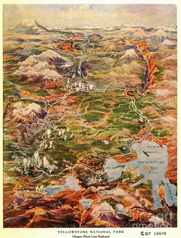Vintage Map Of Yellowstone National Park Photograph