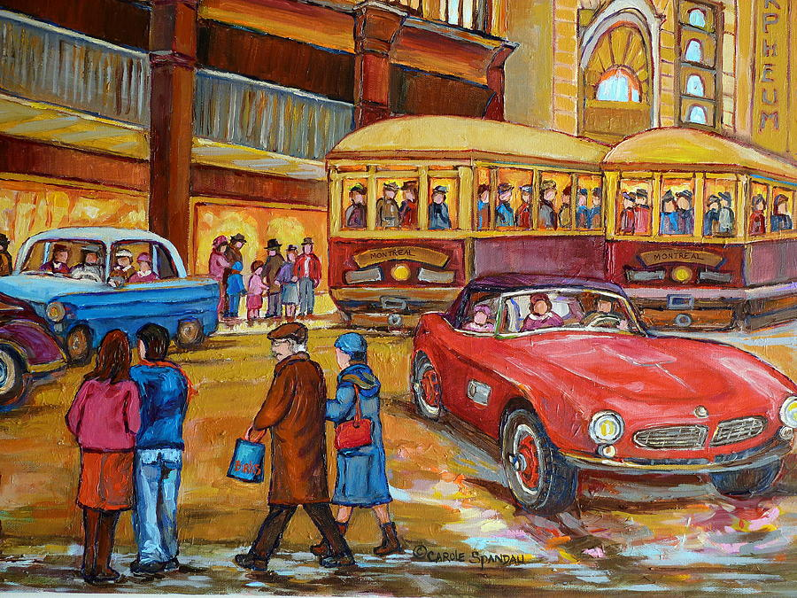 Vintage Montreal-st.catherine And Union-couples And Streetcars Painting