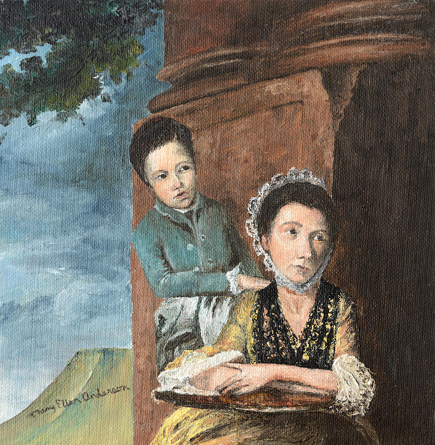 Vintage Mother And Son Painting