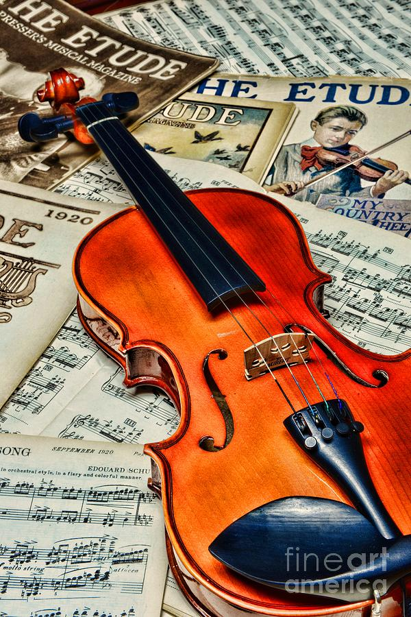 Vintage Music And Violin Photograph