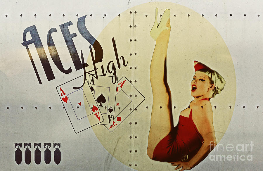 Vintage Nose Art Aces High Digital Art  - Vintage Nose Art Aces High Fine Art Print