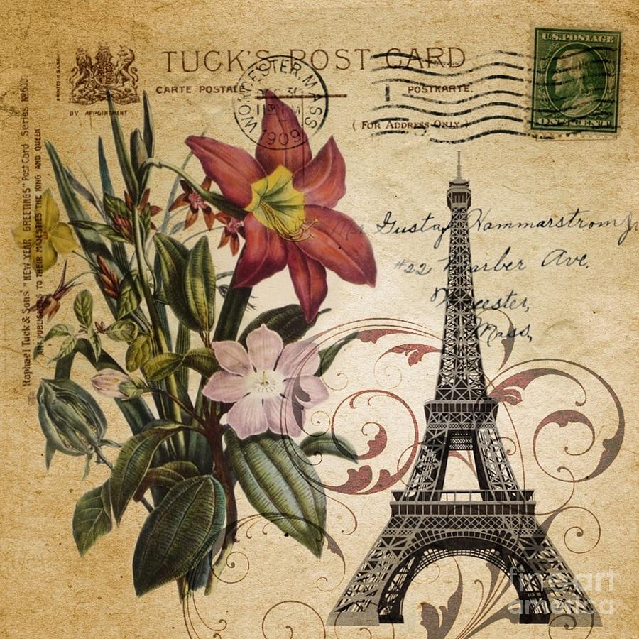 Vintage Paris Eiffel Tower Paris Lily Flower Drawing By