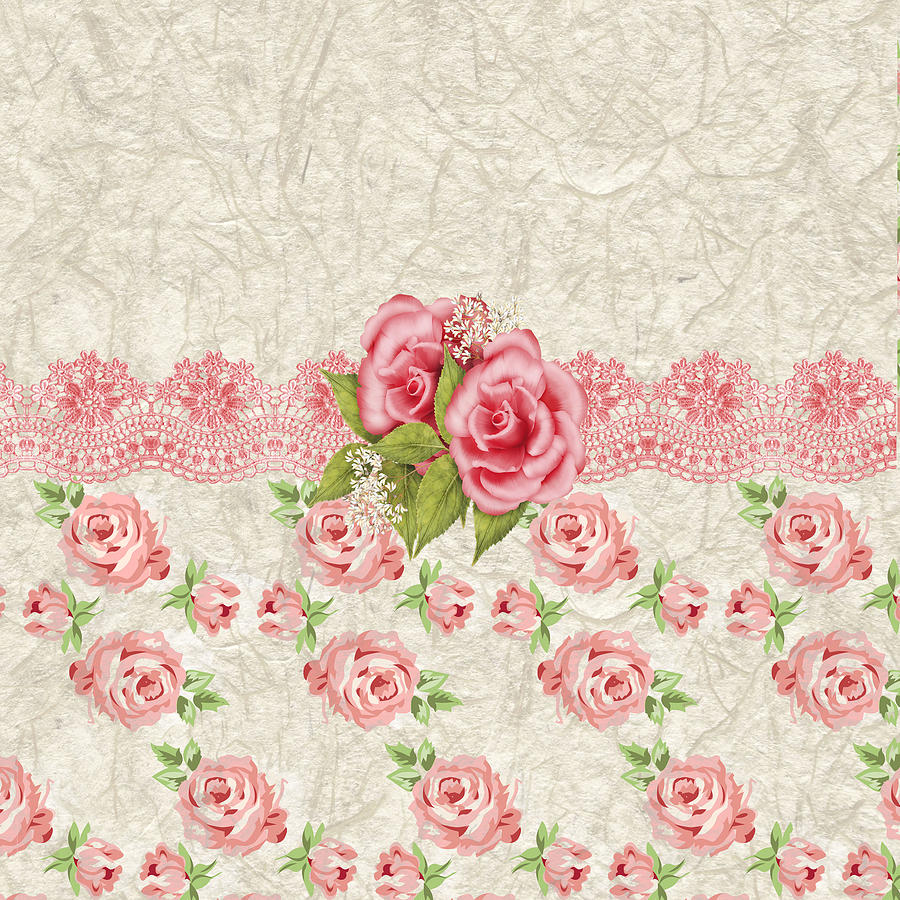 Vintage Floral Seamless Vector Pattern Of The Beautiful ... |Vintage Floral Rose Pattern