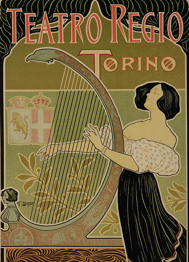 Vintage Poster Advertising The Theater Royal Turin Drawing