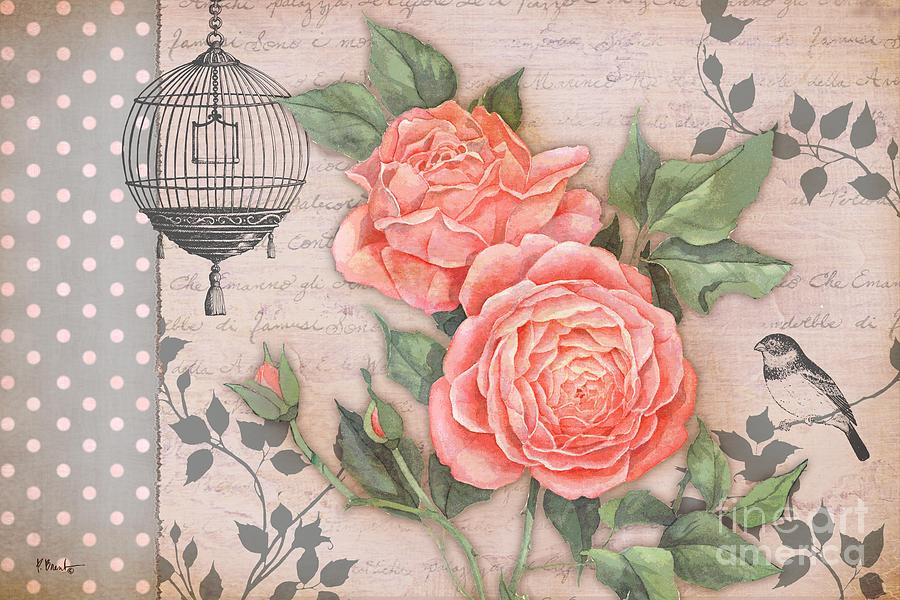 Vintage Rose Collage Painting By Paul Brent