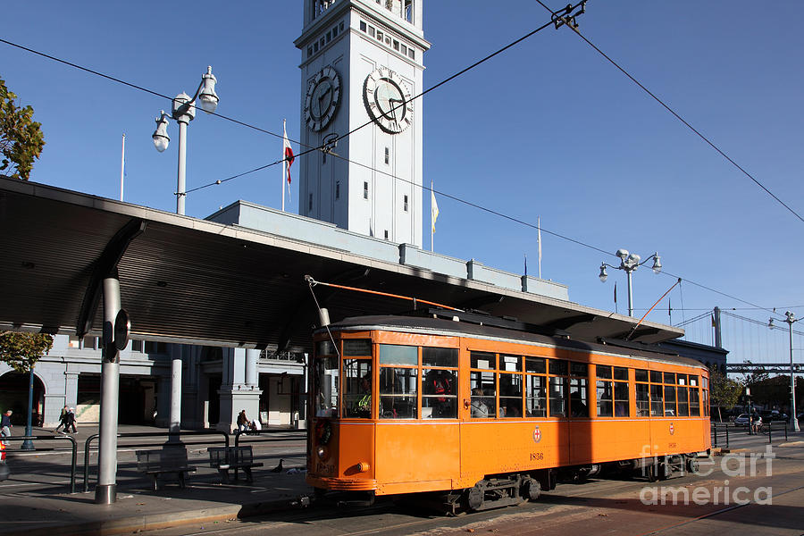Vintage san francisco street car at the ferry building on the