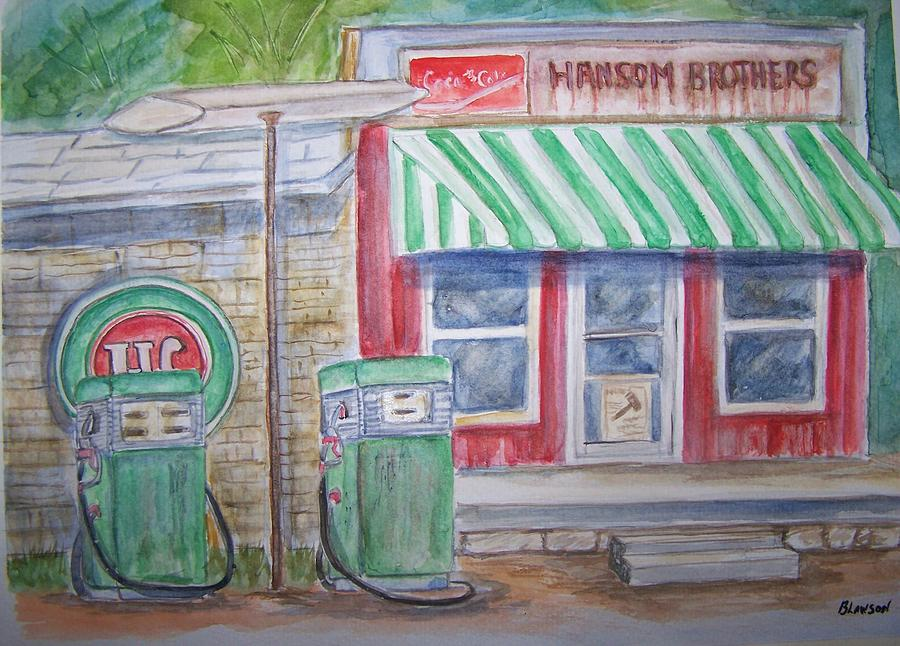 Vintage Sinclair Gas Station Painting  - Vintage Sinclair Gas Station Fine Art Print