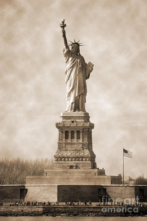 Vintage Statue Of Liberty And Flag Photograph by RicardMN Photography