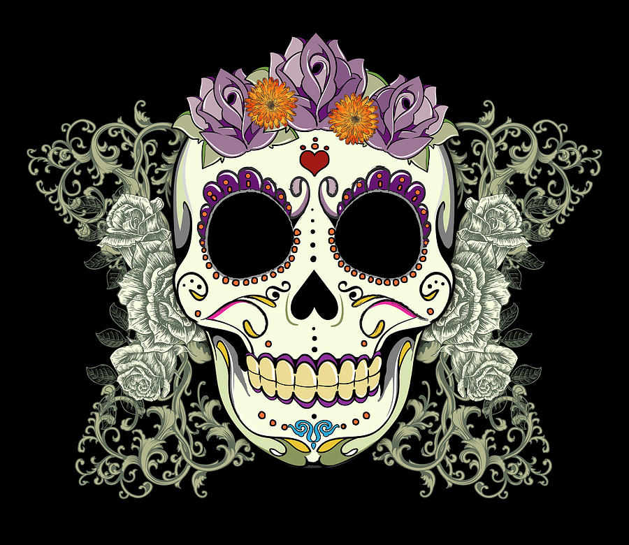 Vintage Sugar Skull And Roses No. 2 Digital Art  - Vintage Sugar Skull And Roses No. 2 Fine Art Print