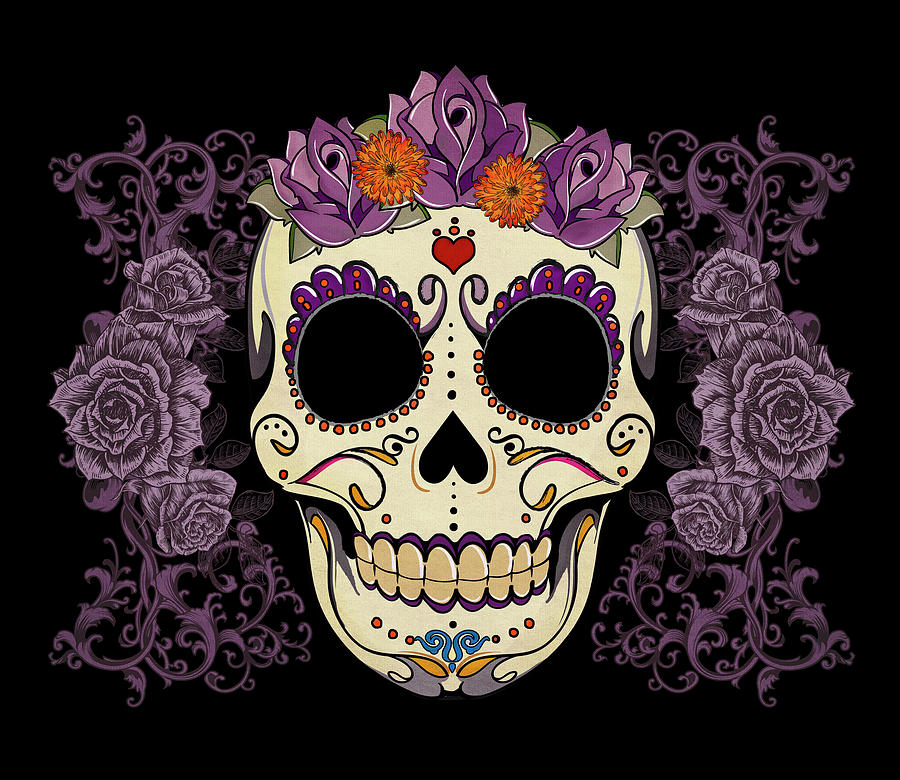 Vintage Sugar Skull And Roses Digital Art  - Vintage Sugar Skull And Roses Fine Art Print
