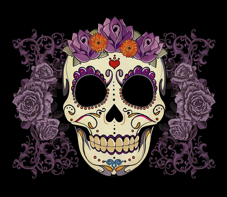 Vintage Sugar Skull And Roses Digital Art By Tammy Wetzel