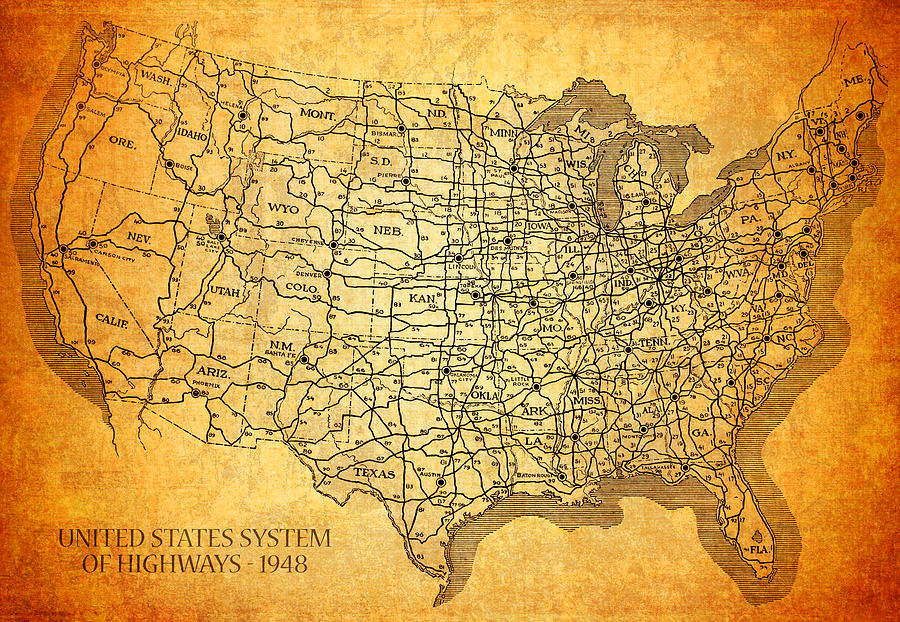 Vintage United States Highway System Map On Worn Canvas Mixed Media  - Vintage United States Highway System Map On Worn Canvas Fine Art Print
