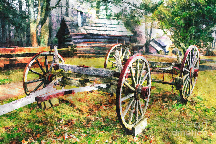 Vintage Wagon On Blue Ridge Parkway II Painting