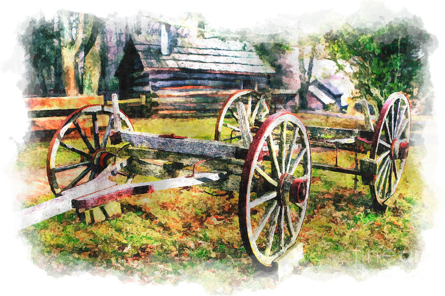 Vintage Wagon On Blue Ridge Parkway IIi Painting  - Vintage Wagon On Blue Ridge Parkway IIi Fine Art Print