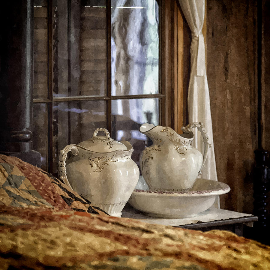 Vintage Wash Bowl And Pitcher Photograph